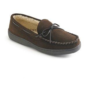 Men's LB Evans Hideaways Brown faux fur slippers.
